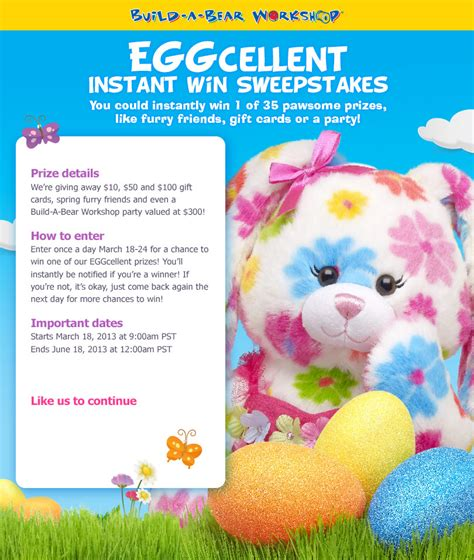 Build A Bear Giveaway - build a bear giveaway enter the eggcellent instant win sweepstakes