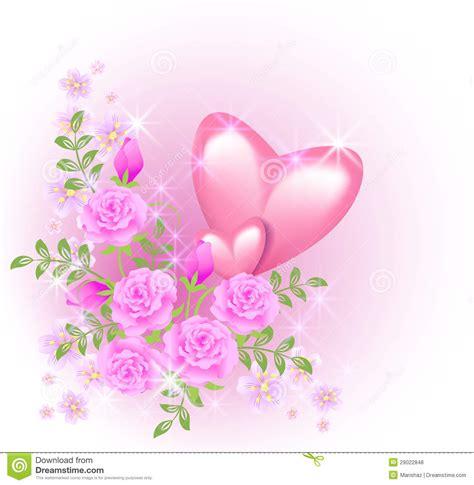 imagenes de flores libres corazones rosados con las flores ilustraci 243 n del vector
