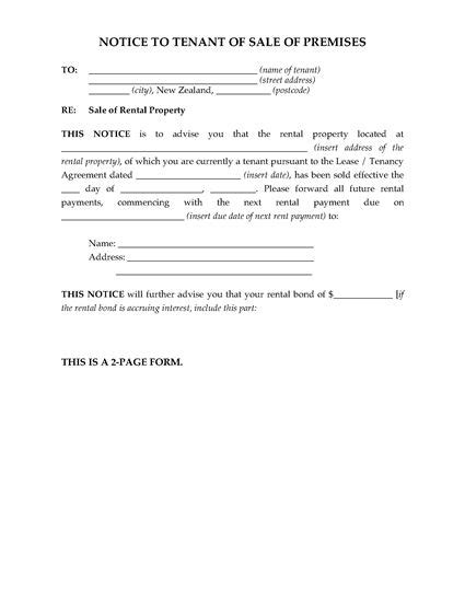 Sle Letter Of Rent Notice New Zealand Notice To Tenant Of Sale Of Rental Premises