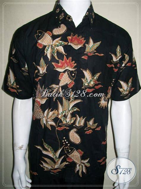 Batik Tulis Pria Motif Ikan kemeja batik tulis motif ikan lengan pendek hitam