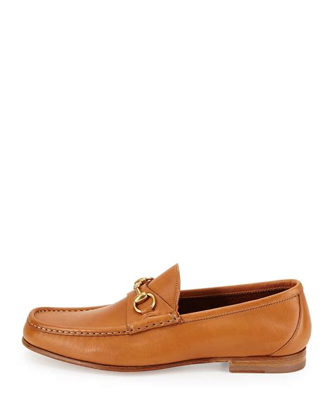 brown gucci loafers gucci leather horsebit loafer in brown for lyst