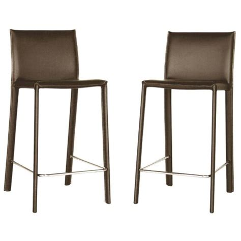 35 Inch Bar Stools by Baxton Studio 35 1 2 Inch Leather Counter Stool Set Of 2 Espresso Brown Cheap Bar Stools