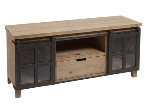 muebles de madera y hierro mueble tv loft industrial de madera de abeto con puertas