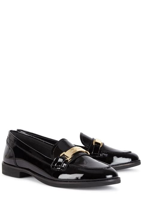 michael kors black loafers michael kors ansley black patent leather loafers in black