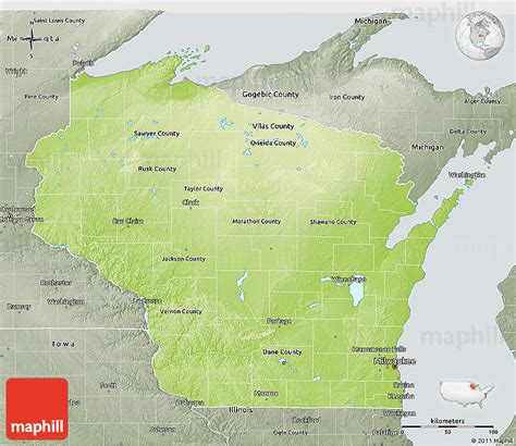 physical map of wisconsin physical 3d map of wisconsin semi desaturated