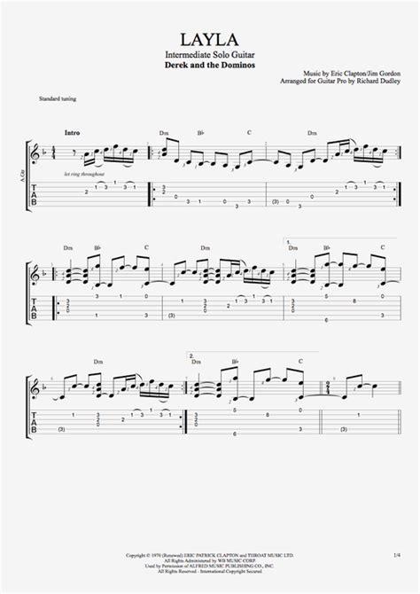 layla  derek   dominos intermediate solo guitar guitar pro tab mysongbookcom
