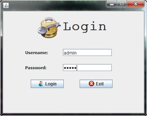 java swing insets swing login manager java gui database insert update