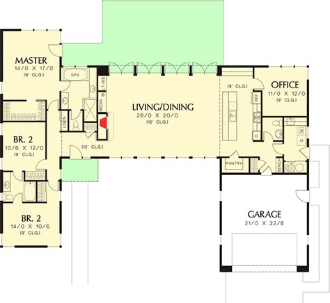 open concept office floor plans plan 69619am 3 bed modern house plan with open concept layout modern house plans open