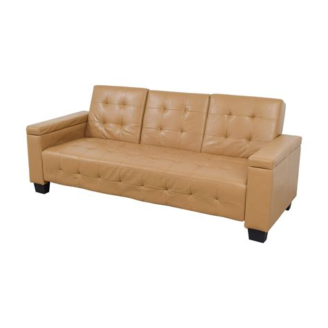 41 Off Tufted Khaki Leather Sofa Futon Sofas Buy Tufted Sofa