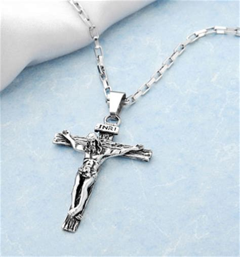 catholic jesus cross pendant titanium crucifix necklace