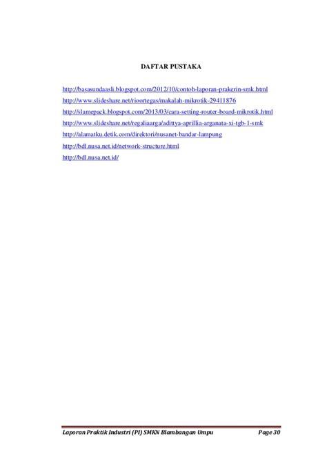 format daftar pustaka laporan laporan praktik industri smkn blambangan umpu