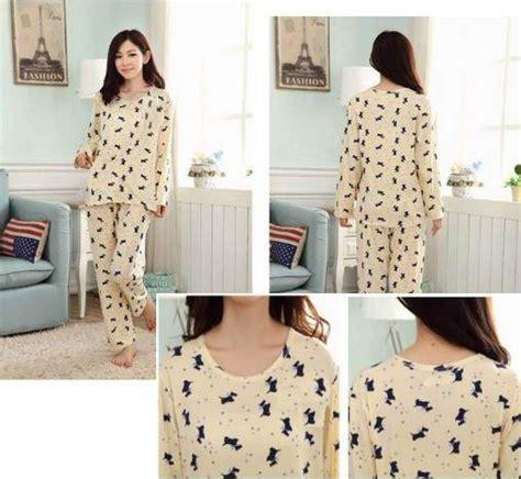 Piyama Baju Tidur Celana Panjang 1 jual baju tidur setelan lengan panjang piyama sleepwear lucu puppy white yuphoria shop