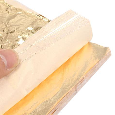 Kertas Foil Emas Gold Leaf Foil Sheet Kertas Prada Sepuhan Sepuh 1000 100 buah lembar daun emas kertas foil dan 14 cm x 14 cm untuk penyepuhan kerajinan dekorasi