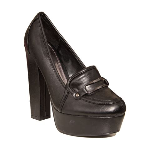 womens black high heel loafers new womens black chunky high heel loafer shoes size 3 8 ebay