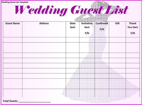 wedding guest list template free 30 free wedding guest list templates templatehub
