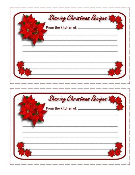 printable recipe cards holiday free printable christmas recipe cards templates