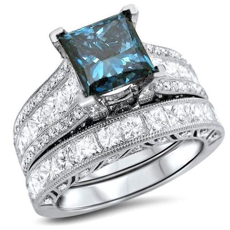 jewels princess blue diamond ring set bridal ring set