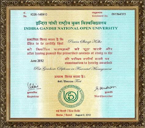 Ignou Mba Degree Certificate by Pravin Kolhe S Website Pgdfm