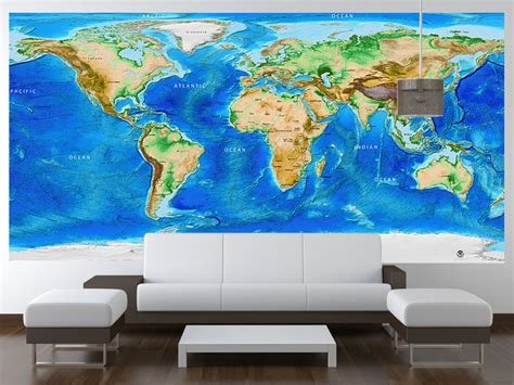 world wall mural global topography bathymetry world wall mural w country labels and borders