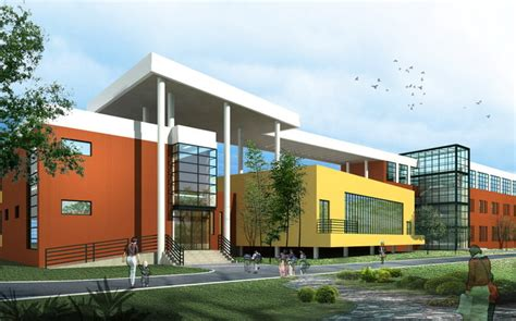 School Building Design with Playground 3D Model .max .3ds
