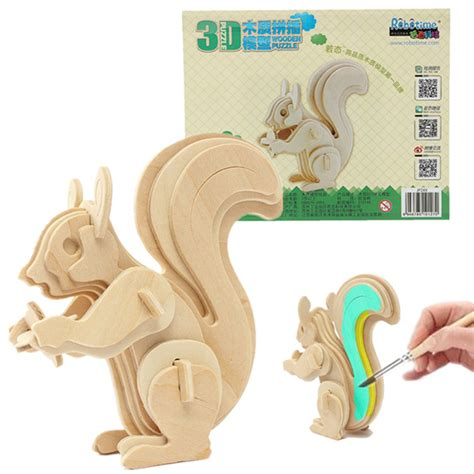 3d puzzle squirrel by bimbozone 3d jigsaw puzzle wooden wisdom animal squirrel educational