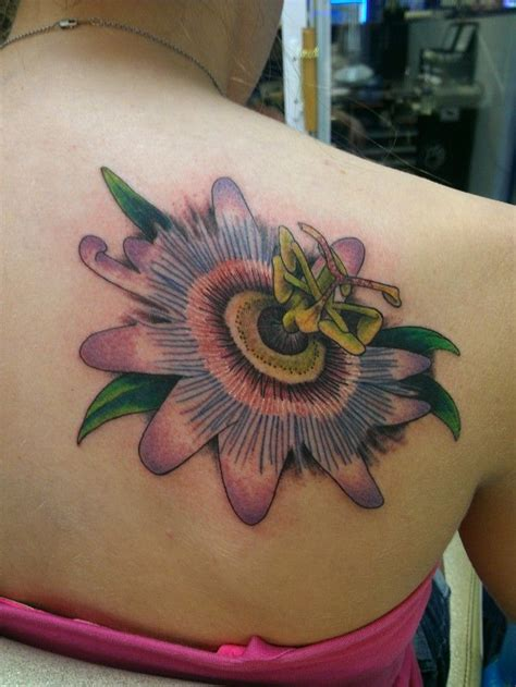 passion flower quarter sleeve shoulder tattoo pinterest