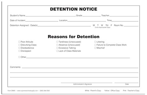 detention notice template detention notice triplicate dn89 supreme school supply