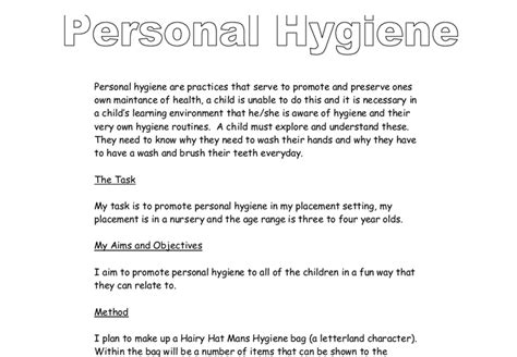 Personal Hygiene Essay by Essay On Personal Hygiene