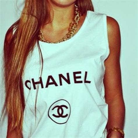 Coco Channel Rainbow Tshirt t shirt chanel inspired white tank top chanel girly collier shirt yolo