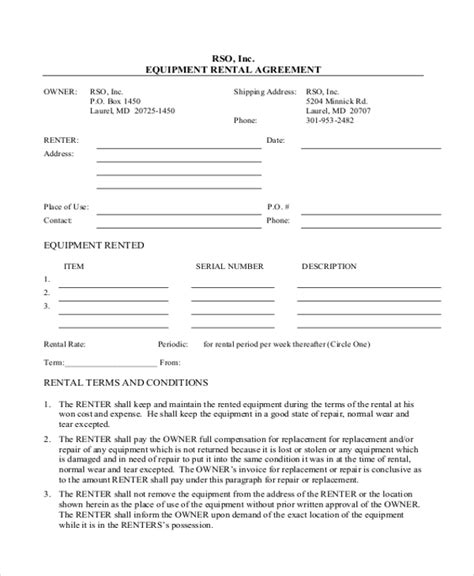 printable equipment lease agreement rental agreement form 11 free documents in word pdf