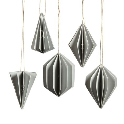 grey ornaments grey geometric paper ornament assortment of 5 by homart