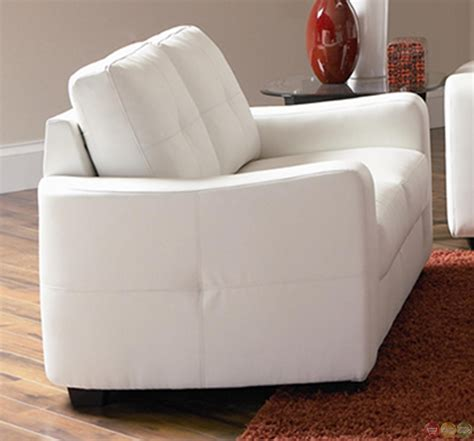Bonded Leather Sofa And Loveseat Contemporary White Bonded Leather Sofa And Loveseat Set