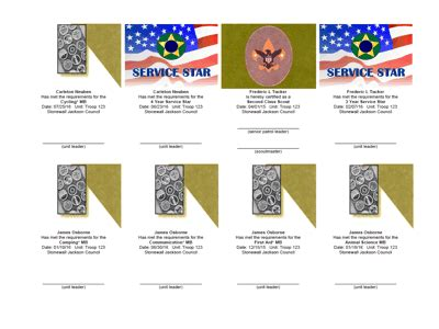 merit badge award card template troopmaster the flagship of scouting software