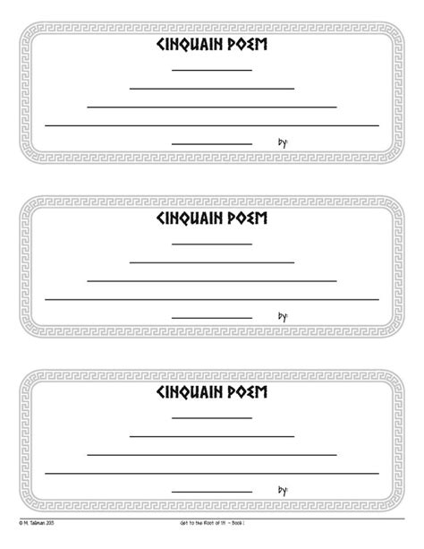 free cinquain poem instructions and template excellent
