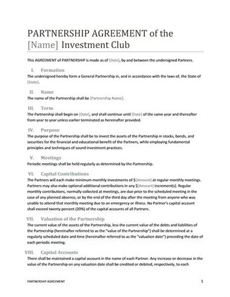 Printable Sle Partnership Agreement Template Form Real Estate Forms Pinterest Real Sle Partnership Agreement Template Free