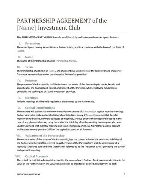 Printable Sle Partnership Agreement Template Form Real Estate Forms Pinterest Real Partnership Agreement Template
