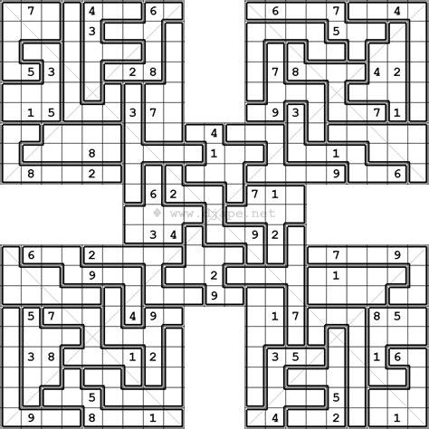printable sudoku jigsaw puzzles diagonal jigsaw samurai x sudoku variant puzzle