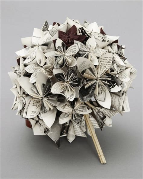 Origami Bridal Bouquet - paper flower wedding bouquet how becoming a wedding planner