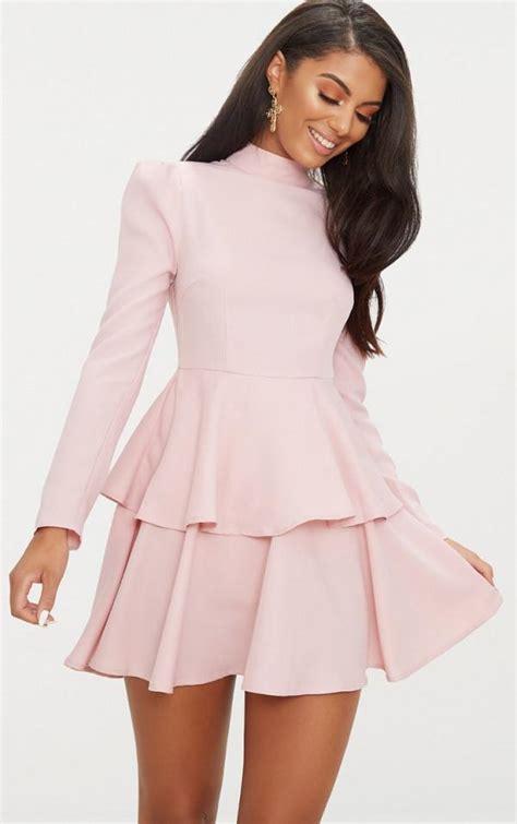 Dress Pretty Dusty Pink prettylittlething dusty pink high neck tiered skater dress australia