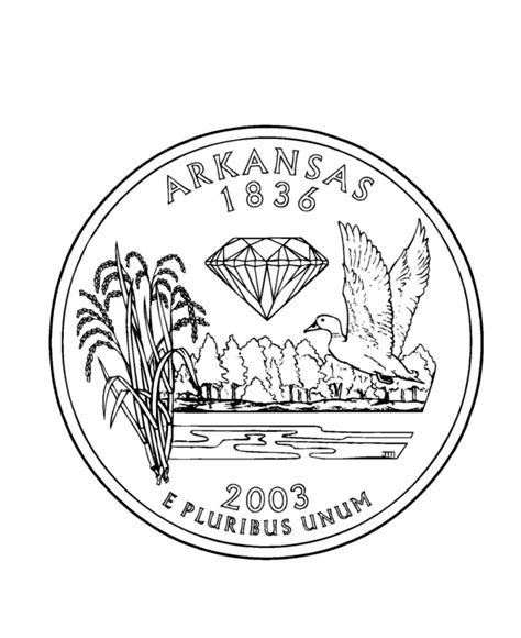 coloring page quarter arkansas state quarter coloring page usa state quarters