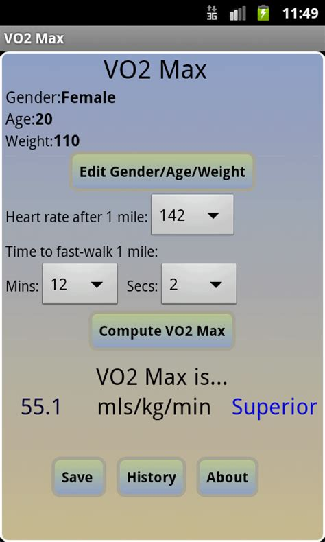 amazoncom vo max calculator appstore  android