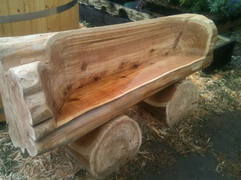 building a log bench hand carved cedar bench