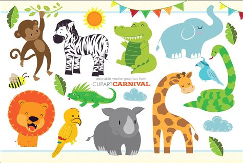 safari animals clip baby jungle safari animals illustrations