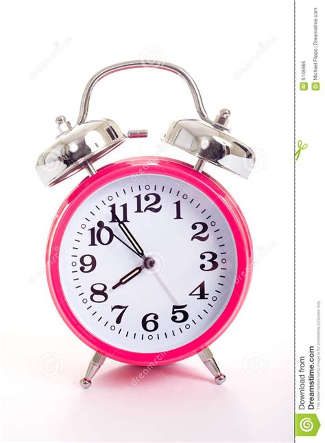 a pink alarm clock on a white background royalty free stock photo image 5146465