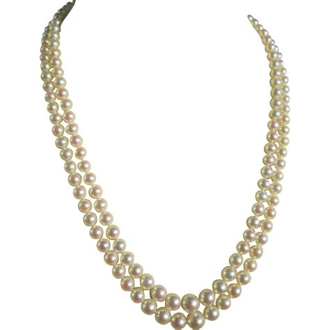 Retro Princess Pear Collar mikimoto strand princess length cultured pearl necklace vintage from