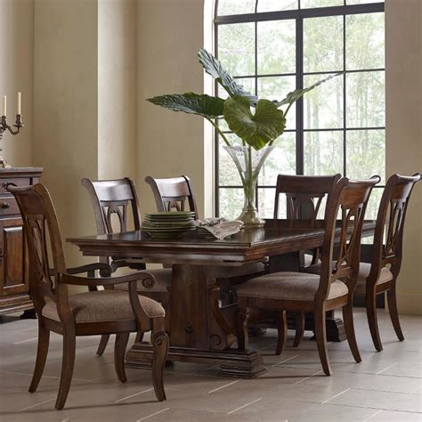 kincaid dining room set kincaid furniture portolone seven piece trestle table and