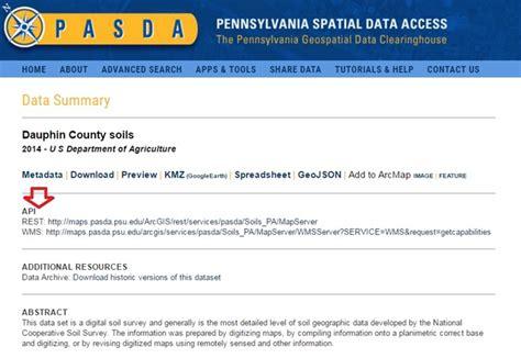 arcgis rest tutorial pennsylvania spatial data access