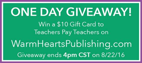 Teachers Pay Teachers Gift Card - one day giveaway enter to win a 10 tpt gift card warm hearts publishing