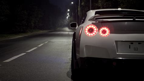 white nissan gtr wallpaper night cars roads tuning white cars tuned taillights