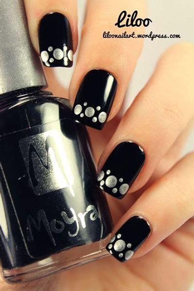 black silver gel nail art designs ideas